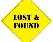 The words Lost & Found on a caution sign