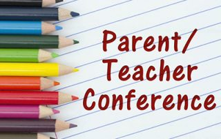 Colored pencils along with the words Parent/Teacher Conference