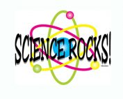 The words Science Rocks amid colorful nuclei