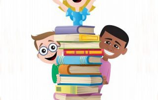 excited kids around a pile of books